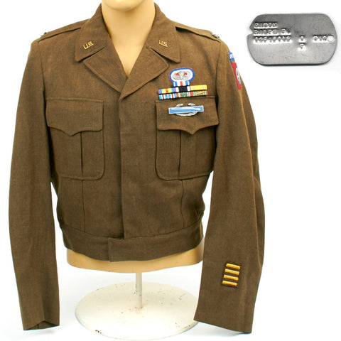 U.S. WWII 82nd Airborne Brigadier General Ralph Eaton - Ike Jacket and Dog Tag