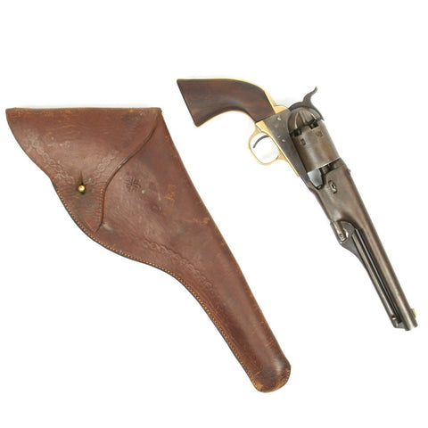 Original U.S. Civil War Colt 1861 Navy .36 Caliber Pistol Matching Serial No 19758 with Leather Holster - Manufactured 1864 Original Items