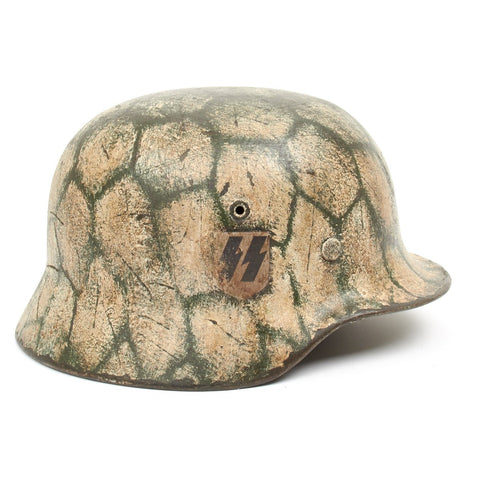 Original German WWII Refurbished M40 SSLAH Early Spring and Late Winter Normandy Helmet - Stamped EF66 Original Items