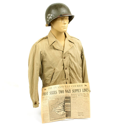 Original WWII Battle of the Bulge Grouping - 1942 U.S. M1 McCord Helmet, M1941 Jacket, Newspaper