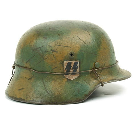 Original German WWII M40 Refurbished Caan Falaise Gap SS Helmet - Stamped EF64 Original Items