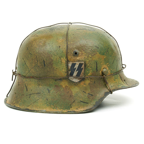 Original German WWII M42 Refurbished 12th SS Hitlerjugend Battle of the Bulge Helmet - Stamped hkp64