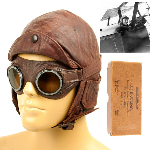 Original British WWI Royal Flying Corps Leather Flying Helmet with Goggles and Case