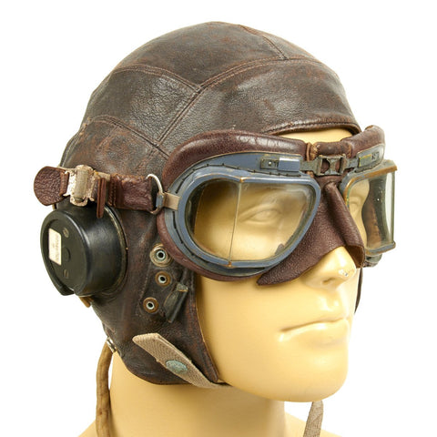 Original British WWII RAF Named Type C Leather Flying Helmet with Mk VIII Goggles