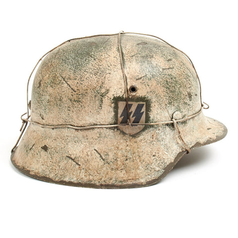 Original German WWII M42 Refurbished SSLAH Double Decal Winter Battle of the Bulge Helmet - Stamped hkp64