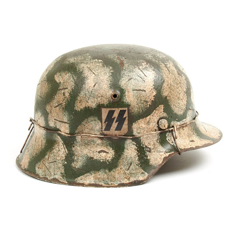 Original German WWII M42 Refurbished Leningrad Winter Helmet - Stamped hkp64 Original Items