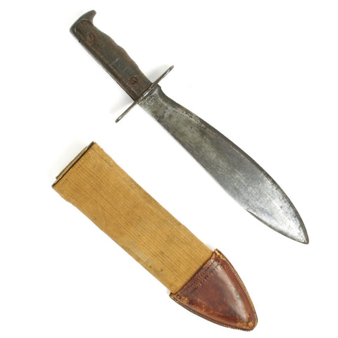 Original U.S. WWI Model 1917 Bolo Knife with Canvas Scabbard- by Plumb Dated 1918 Original Items