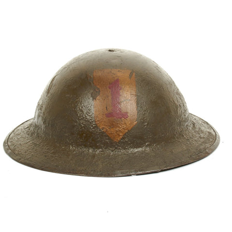 Original U.S. WWI M1917 Doughboy Helmet of the 1st Infantry Division - The Big Red One Original Items