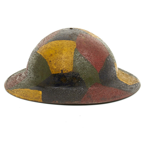Original U.S. WWI M1917 Doughboy Helmet with Original Camouflage Textured Paint