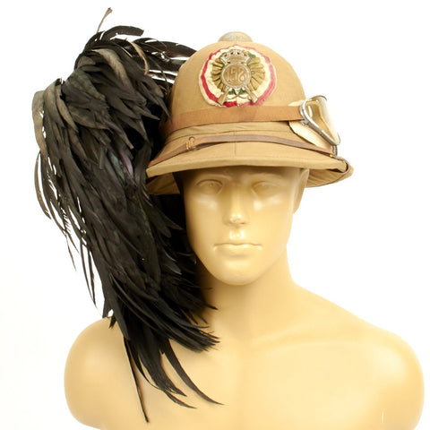 Original Italian WWII North African Campaign M1928 Tropical Sun Pith Helmet with Feather Plume and Goggles