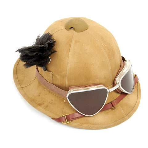 Original Italian WWII North African Campaign M1928 Tropical Sun Pith Helmet with Plume and Goggles