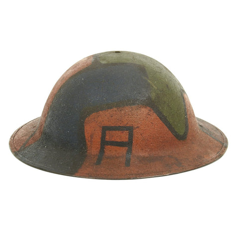 Original U.S. WWI M1917 Named Doughboy Helmet with Camouflage Textured Paint Original Items