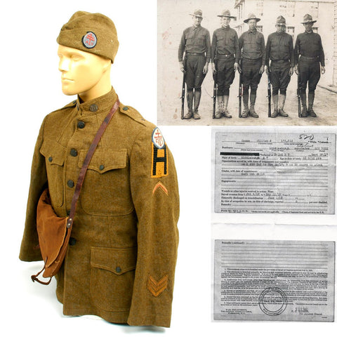 Original U.S. WWI 20th Engineers AEF Named Uniform Grouping Original Items
