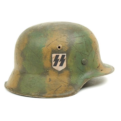 Original German WWII M42 Refurbished Battle of Kursk SS Helmet - Stamped hkp64