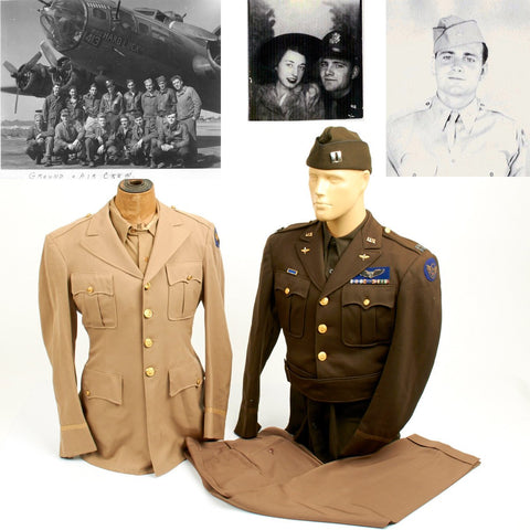 Original U.S. WWII Captain of Hard Luck 350th Bomb Squadron and Prisoner of War at Stalag Luft-1 Named Uniforms and Documents