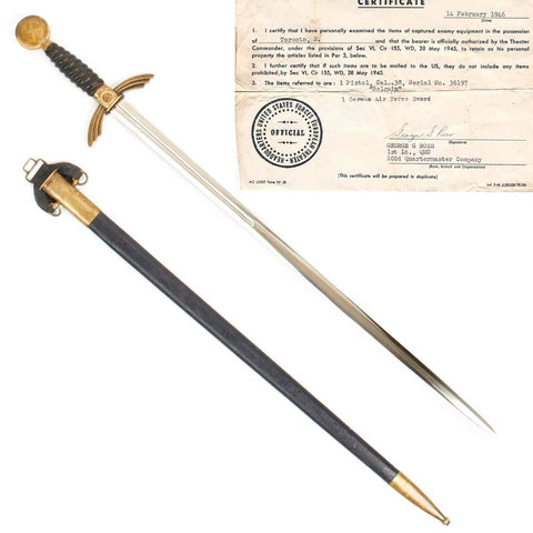 Original German WWII Early Luftwaffe Officer Sword with USGI Bring Back Certificate