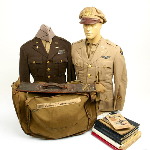 Original U.S. WWII B-17 Navigator of Wild Oates 351st Bomb Group and Prisoner of War Named Uniforms and Documents