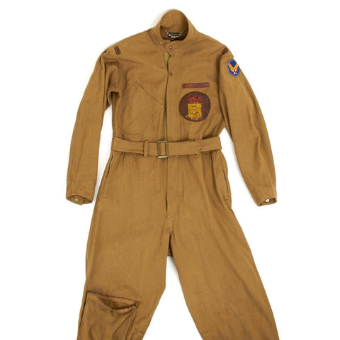 U.S. WWII Army Air Force Summer Type A-4 Flight Suit with Leather Squadron Patch Original Items