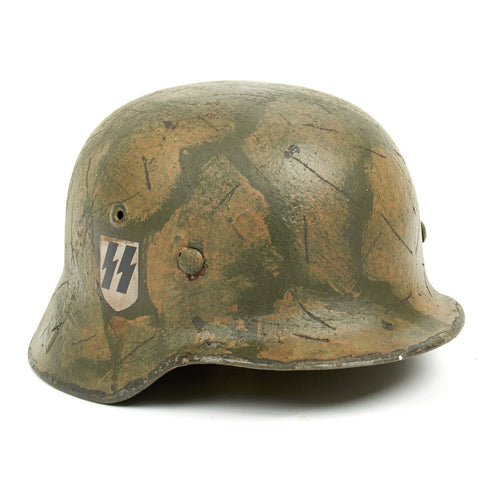 Original German WWII M40 Refurbished 1SS Leibstandarte Southern Front Helmet - Stamped EF66