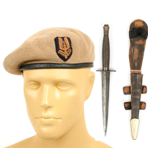 Original British WWII Named Commando SAS Beret with Sykes Fairbairn Fighting Knife Original Items