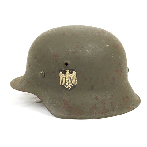 Original German WWII M42 Single Decal Army Helmet - Shell Size 62