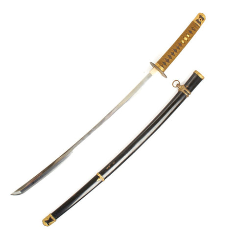 Original WWII Japanese Navy Officer Katana Samurai Sword - Signed Blade