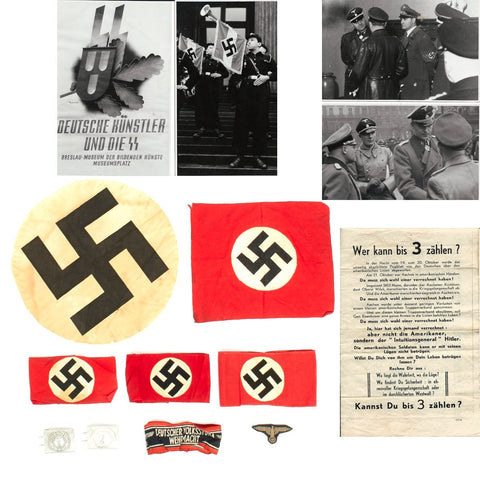 Original German WWII USGI Bring Back Grouping - Arms Bands, Photos, Propaganda Original Items