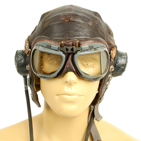 Original British WWII RAF Named Type C Leather Flying Helmet with Mk VIII Goggles - S. BAKER