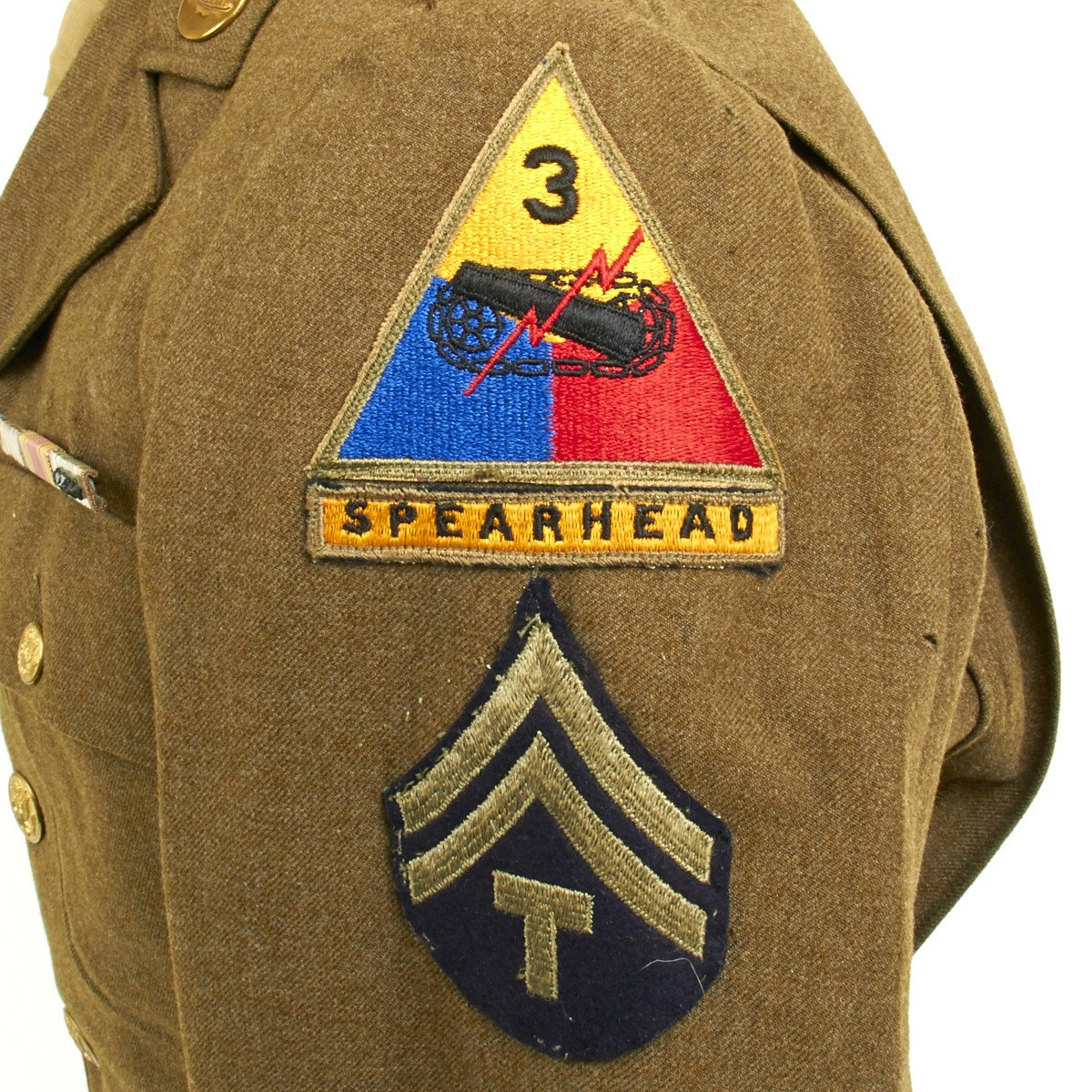 Original U S  WWII 3rd Armored Division Technical Sergeant Uniform