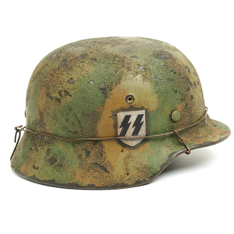 "Original German WWII M40 Refurbished WWII 2nd SS  ""Das Reich"" 3 Color Textured Camo Normandy Helmet - Stamped EF66 Original Items"