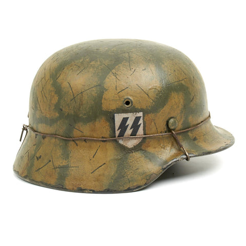 Original German WWII M40 Refurbished WWII SS Italian Front Turtle Shell Camo Helmet - Stamped EF66 Original Items