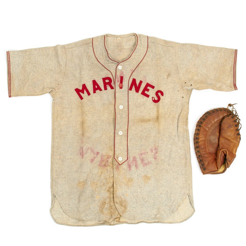 Original WWII USMC Marine Baseball Jersey with U.S. 1945 Dated First Baseman Glove Original Items