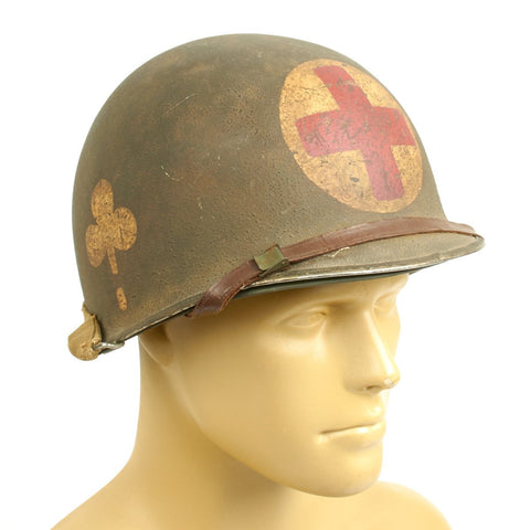 Original WWII 101st Airborne 327th Glider Infantry Regiment Medic Helmet- U.S. 1944 M1 McCord Front Seam with Seaman Paper Co Liner Original Items