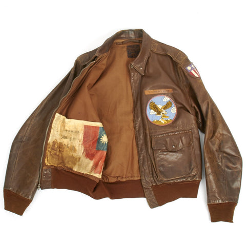 Original U.S. WWII B-25 Bomber Named A-2 Flight Jacket 22nd Squadron 7th Bomb Group (Size 40)- Lieutenant NORMAN J. SLOAN Original Items