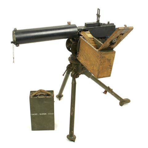 Original U.S. WWII Browning M1917A1 Display Machine Gun With Tripod and Accessories
