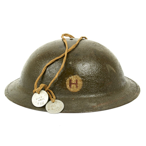 Original U.S. WWI M1917 Doughboy Helmet Named Base Hospital No. 3 with Dog Tags