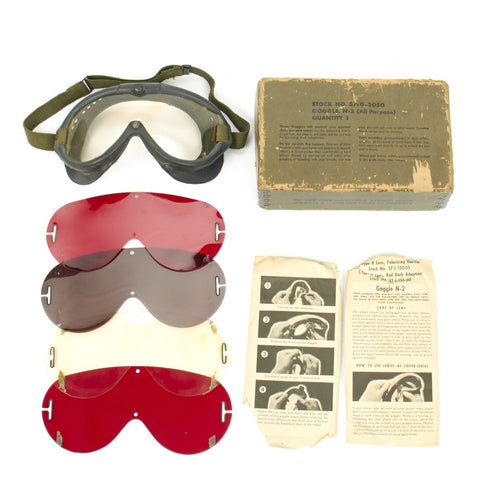 Original U.S. WWII M-1944 Tanker Goggles by Polaroid - Complete Boxed Set