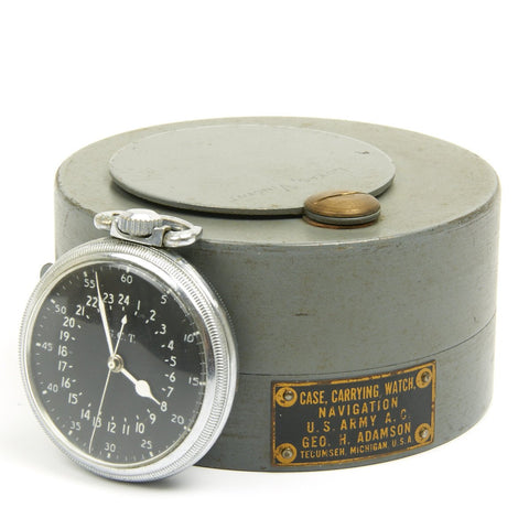 Original WWII USAAF 1942 Hamilton AN5740 G.C.T Navigator Pocket Watch with Case