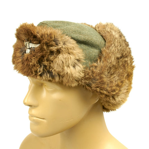 Original German WWII Eastern Front Rabbit Fur Winter Hat
