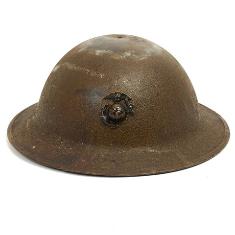 Original U.S. USMC WWI M1917 Doughboy Helmet with Textured Paint Original Items