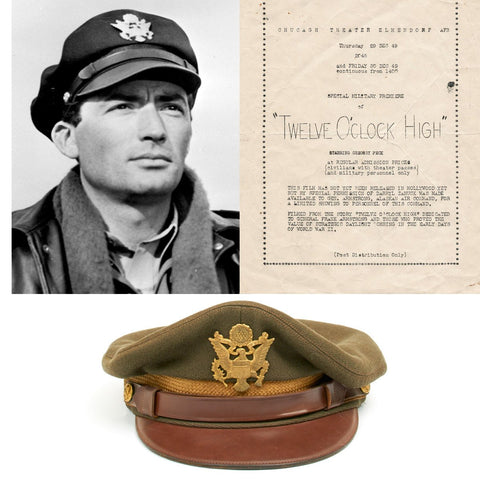 Original Gregory Peck Twelve O'clock High Wardrobe WWII USAAF Pilot Visor Crush Cap