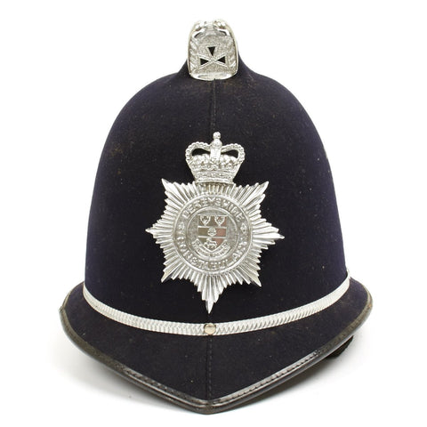 Original British Police Bobby Comb Top Pattern Helmet of Derbyshire County