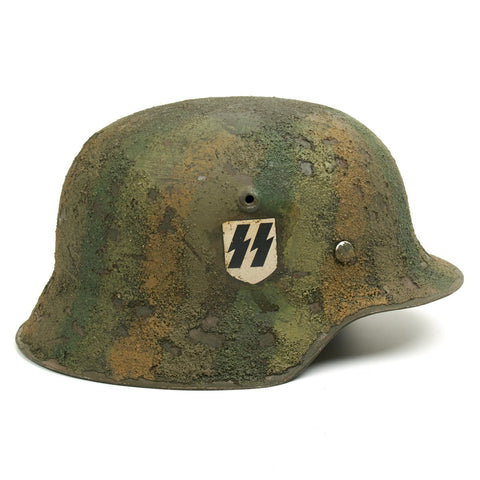 Original German WWII M42 Refurbished 2nd SS Panzer Division Das Reich Normandy Helmet - Stamped NS66