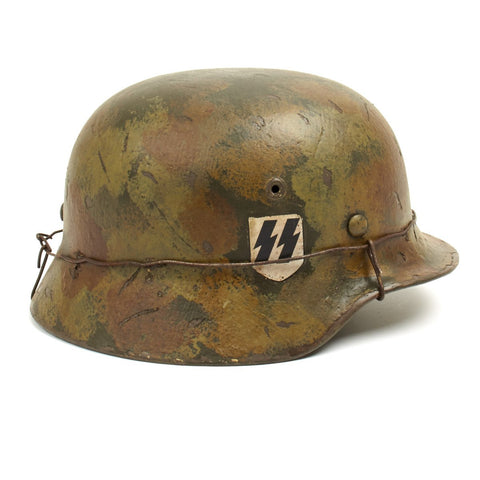 Original German WWII M40 Refurbished Summer Normandy SS Double Decal Helmet - Stamped EF66