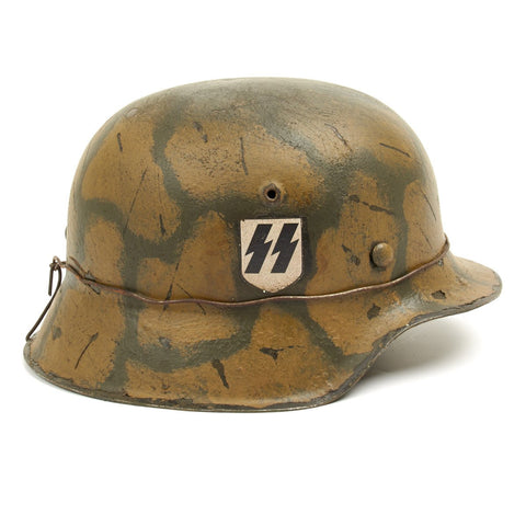 Original German WWII M42 Refurbished SSLAH Normandy helmet  - Stamped hkp64