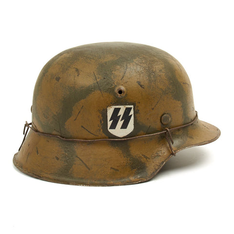Original German WWII M42 Refurbished SS Italian Front Helmet  - Stamped hkp66