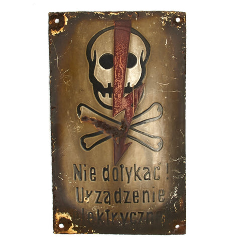 Original WWII Polish Warning High Voltage Enamel Sign Original Items