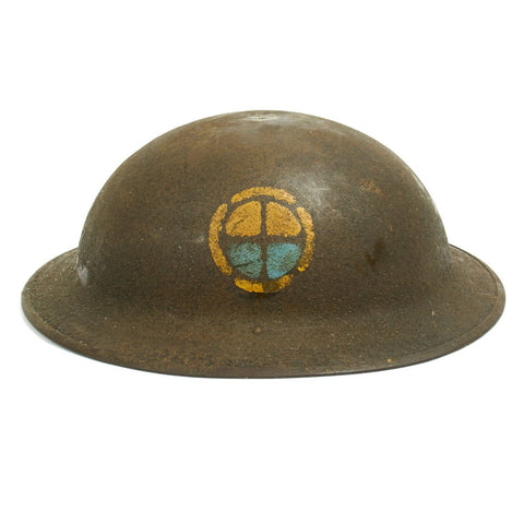 Original U.S. WWI M1917 Doughboy Helmet of the 35th Infantry Division with Textured Paint Original Items