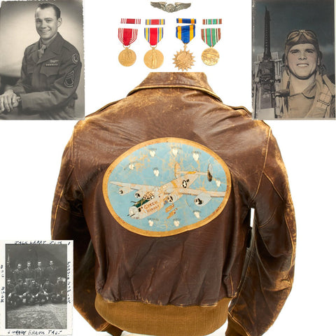 "Original U.S. WWII B-24 Liberator ""Green Hornets"" Named Leather A-2 Jacket with Medal Grouping (Size 40)"