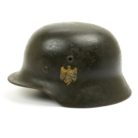 Original German WWII Army Heer M40 Single Decal Helmet - EF64